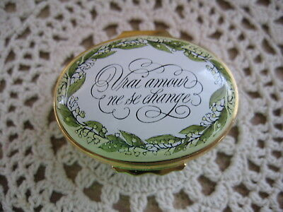 Sweet Tiffany & Co VRAI AMOUR NE SE CHANGE Halcyon Days Enamel Hinged Lid Box