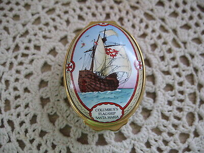 Unique 500th Anniversary Christopher Columbus Halcyon Days Enamel Hinged Lid Box