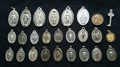 Lot of 25 Miraculous Medals of Mary vintage Catholic Saint charms holy religious