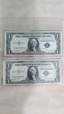 Two, 1935-E $1 Silver Certificate One Dollar Note Washington Blue Seal