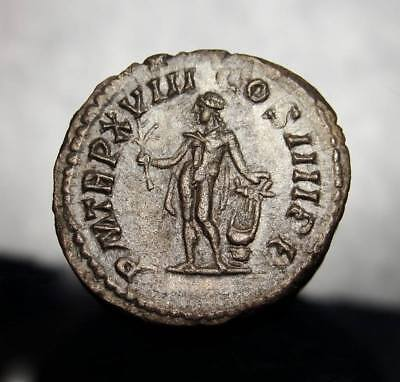 RARE Caracalla with Apollo.Ruled for only 3 years.Sharp portrait. Roman Denarius