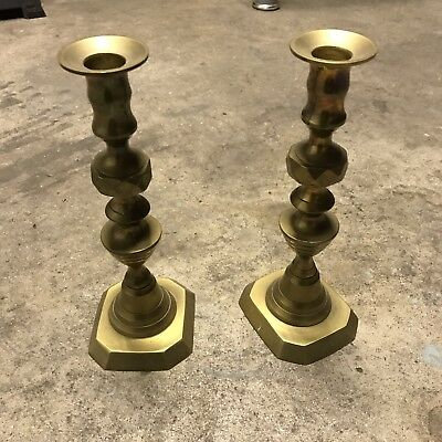 Antique victorian brass candlesticks - Beehive - Diamond Pattern.