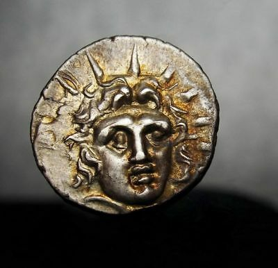 Colossus of Rhodes.Helios.MS⭐ Super Rare Gold Iridescent  Greek coin worth $2000