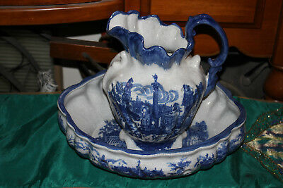 Large Ironstone Pottery Blue & White Water Pitcher & Bowl-Victorian Scenes