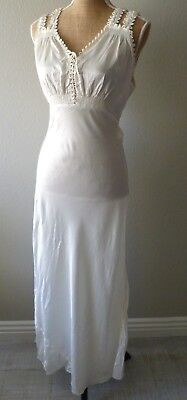 Vintage 30s 1930s Stunning Satin Lace Hollywood Art Deco Wedding Gown Dress S/M