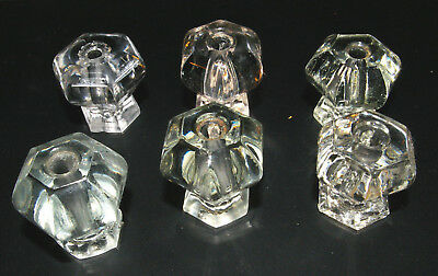 Lot of 6 Matching Vintage Antique Clear Glass Crystal Drawer Pulls Knobs