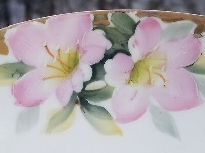 Vintage Hand Painted Nippon 3 piece serving bowl, plate and ladle.  Pink flowers