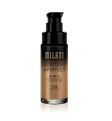 NEW COLOR!!! MILANI Conceal + Perfect 2-In-1 Foundation + Concealer *11A Nutmeg*