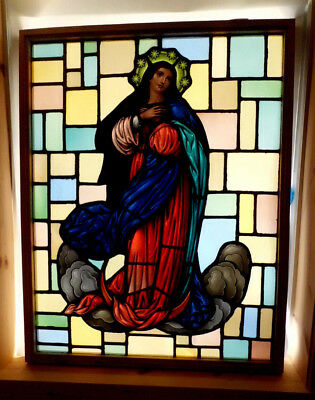 Antique Vtg Church Stained Glass Window Architectural Salvage Virgin Mary W58