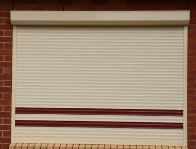 Security Roller Shutters Complete x 2 - Beige with brown stripes