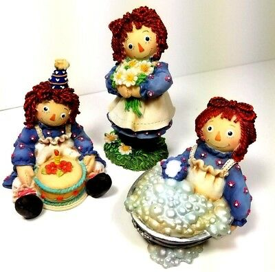 Raggedy Ann and Andy FigurinesLot of 3