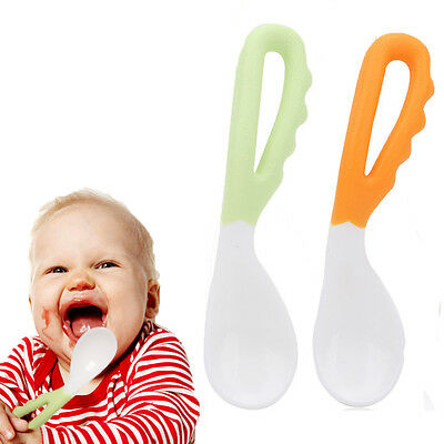 2pcs Baby Pacifier Feeding Spoon Curved Spoon Tableware Children Solid Supplies
