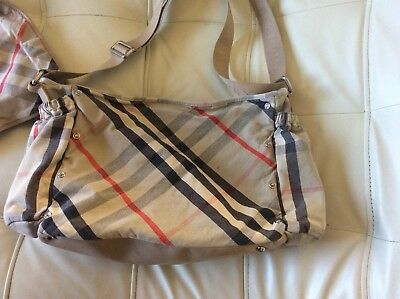 Burberry Messenger Style Diaper Bag with Built In Changing Pad