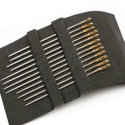 12x Thick Big Eye Sewing Self-Threading Needles Embroidery Hand Sewing Kit.US