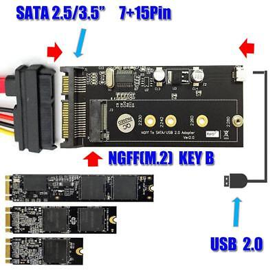 SSD NGFF M.2 to 2.5 inch SATA Converter Adapter Card with Screws USB Cable Panel