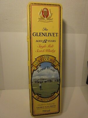 """Glenlivet 12"""" Tin Box Classic Golf Course Royal Troon Aged 12 Year Scotch Whisky"""