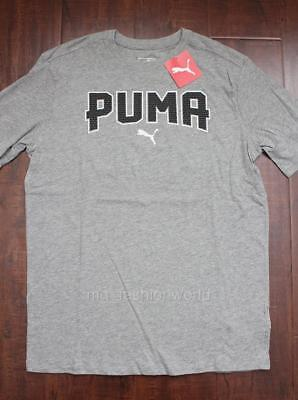 08dc0920426 New Men Puma Crew Neck Short Sleeve Logo Front T-shirt Tee Top Grey Small