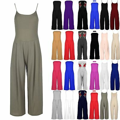 Women Ladies Cami Strappy Palazzo Trouser All In One Playsuit Jumpsuit Plus Size