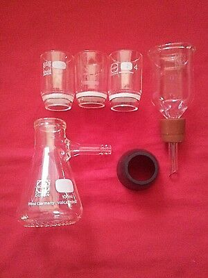 Glass Gooch Sintered crucibles Set of 3 with funnel, 100 ml vacuum flask