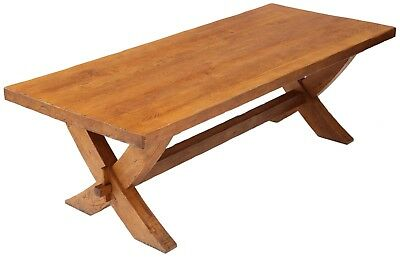 Antique large quality oak Georgian refectory style dining table ~ 8' 4854