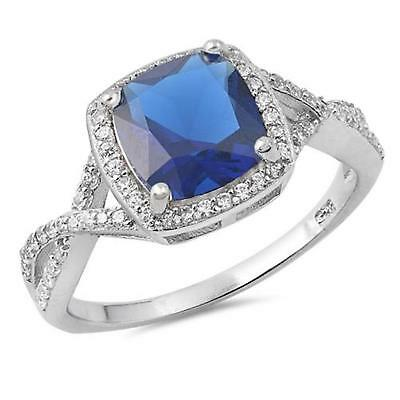 STERLING SILVER Ring LGE Simulated Blue Sapphire Ring ~ Size 7 8 9 10 / O Q S U
