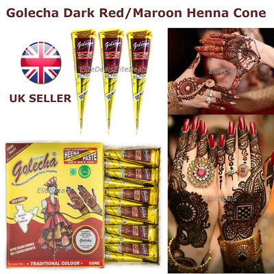 2 X High Quality GOLECHA RED/MAROON HENNA CONES Pen Arabic Mehandi Tattoo Paste
