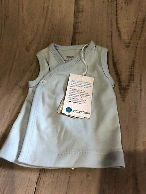 PUREBABY CROSSOVER SINGLET PREMMIE 0000000 /000000 - BLUE - premature/small baby