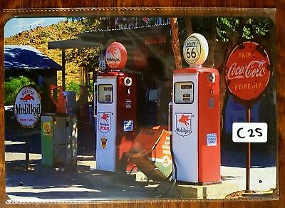 Coke Coca-Cola Mobil Petrol Bowser tin sign. Mancave Signs Aussie Seller
