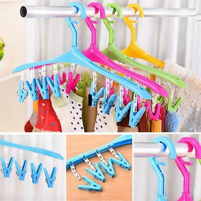 8 Clips Socks Clothespin Underwear Hook Rack Drying Laundry Hangers- 5 Colors