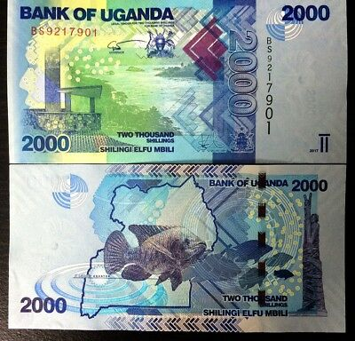 Uganda 2000 2,000 Shillings 2017 P 50 Fish Unc Lot 5 Pcs