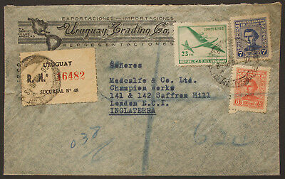 Uruguay 1948 Registered Advertising Cover from Uruguay Trading Co. to London
