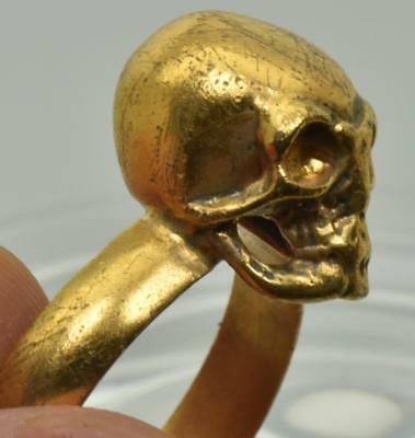 Antique Victorian Memento Mori Masonic Skull 18k gold plated vermeil silver ring