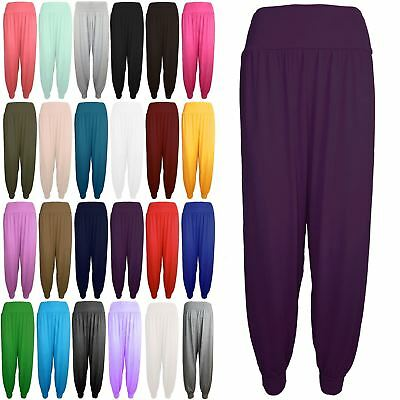Kids Girls Plain Harem Baggy Full Length Ali Baba Leggings Bottom Trousers Pants