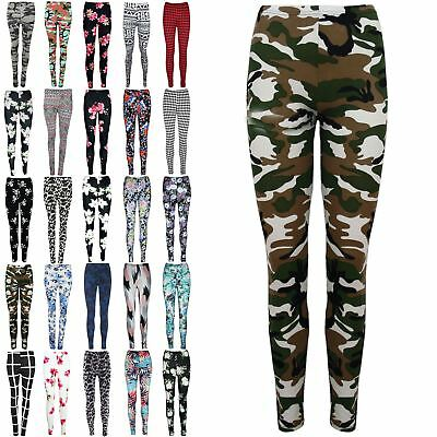 Womens Floral Army Print Jeggings Ladies Ankle Length Pants Leggings Plus Sizes