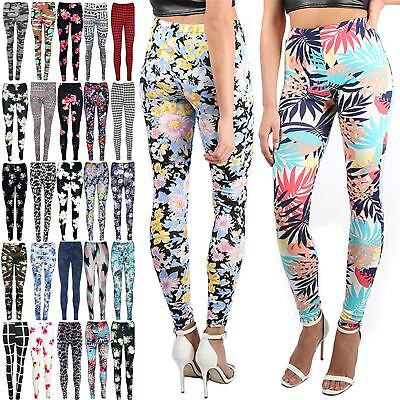 Womens Floral Flower Printed Pants Ladies Full Ankle Length Jegging Leggings