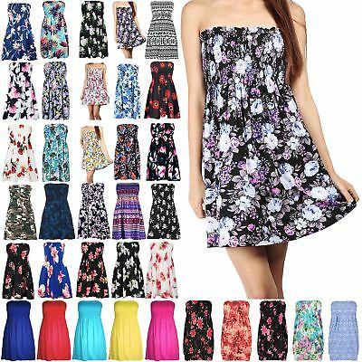2c12e7131c6 Womens Floral Sheering Top Ladies Swing Bandeau Boobtube Ruched Flared Plus  Size