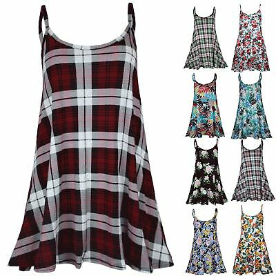 Womens Thin Strap Sleeveless Printed Vest Ladies Cami Flared Swing Dress Top