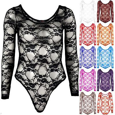 New Ladies Full Floral Lace Body Top Bodysuit Leotard Womens Mesh Plus Size 8-22