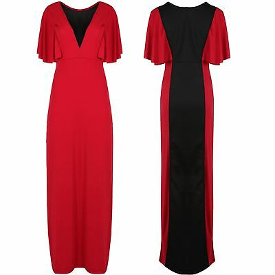 Womens Ladies Contrast Back Wrap V Plunge Frill Sleeve Evening Long Maxi Dress