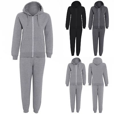 Boys Girls Tracksuit Unisex Hooded Jogsuit Plain Fleece Hoodie Top Bottom Jogger