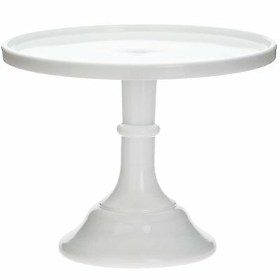 """Cake Plate Pastry Tray Bakers Stand - Plain & Simple Milk Glass - Mosser USA 12"""""""