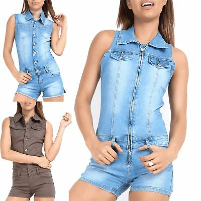 Womens Ladies Zip Up Pockets Collared Denim Dungaree Overall Jumpsuit Playsuit