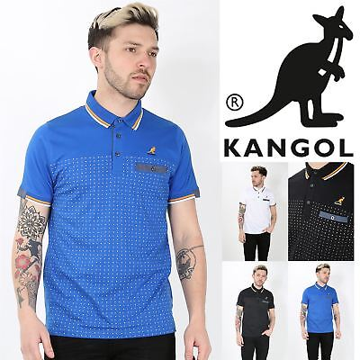 Kangol Mens Collar Short Sleeve Dots Stripes Front Buttons Stretchy Polo T Shirt
