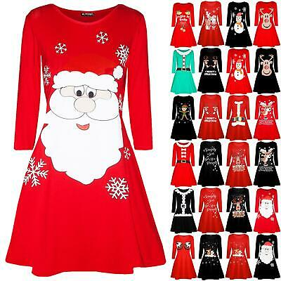 Womens Ladies Santa Costume Hat Dancing Reindeer Christmas Xmas Swing Mini Dress