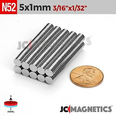 "25 100 1000pcs 5mm x 1mm 3/16""x1/32"" N52 Rare Earth Neodymium Small Magnet Disc"