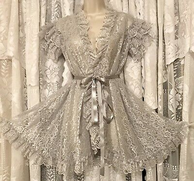 VTG RARE SILVER GRAY Frilly LACE Chiffon Babydoll Peignoir Robe for Nightie P S