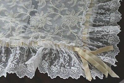 Vtg Antique French Schiffli Tambour Embroidered Net Lace Boudoir Pillowcase
