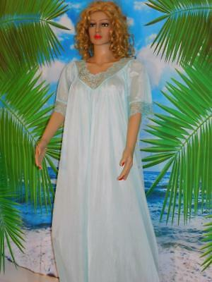 2X Free Bust Gown Icy Mint Nylon Butterfly Sleeve Wide Lace Detail New Old StocK