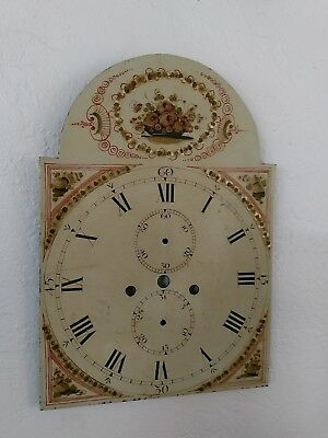 ANTIQUE  HAND PAINTED CLOCK FACE for TALL GRANDFATHER CLOCK Painted Roses