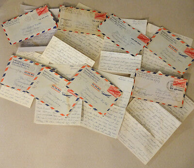 Vintage Lot of 8 Original Military Army AIR MAIL War Letters Lot 3